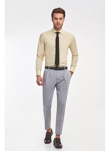 Hemington Sarı Italyan Yaka Pamuk Business Gömlek Sarı